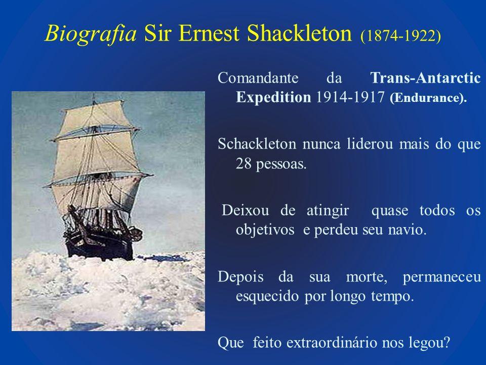 Biografia Sir Ernest Shackleton (1874-1922) Comandante da Trans-Antarctic Expedition 1914-1917 (Endurance). Schackleton nunca liderou mais do que 28 p