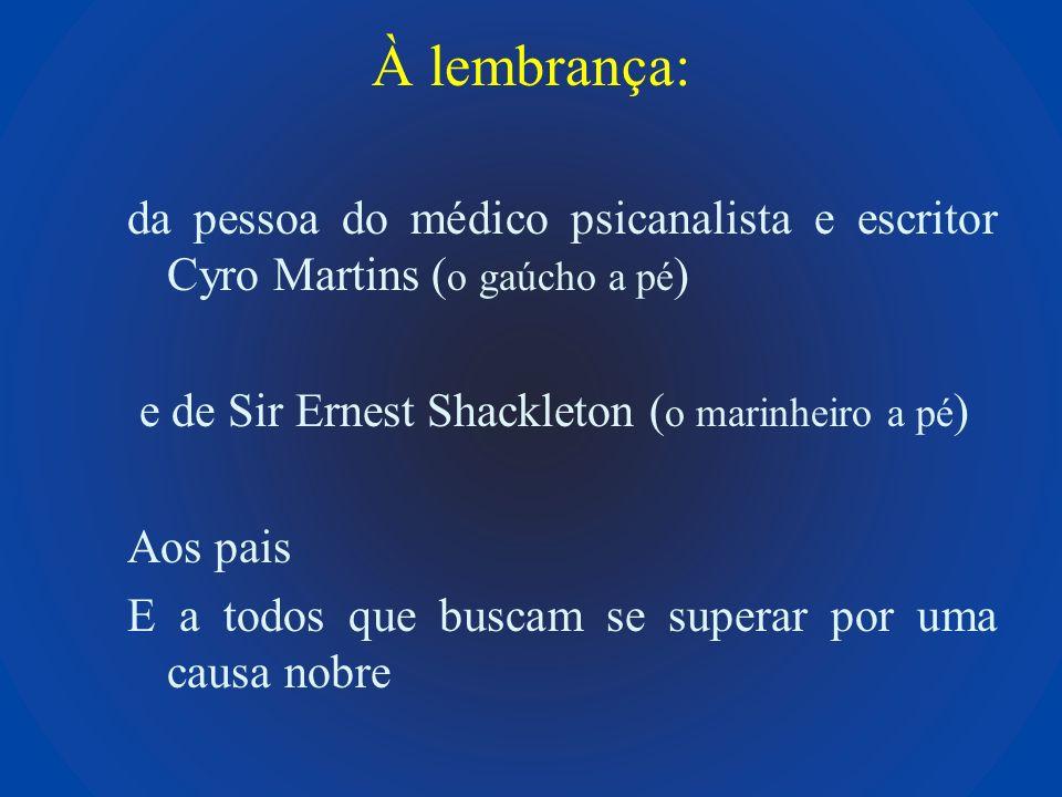 À lembrança: da pessoa do médico psicanalista e escritor Cyro Martins ( o gaúcho a pé ) e de Sir Ernest Shackleton ( o marinheiro a pé ) Aos pais E a