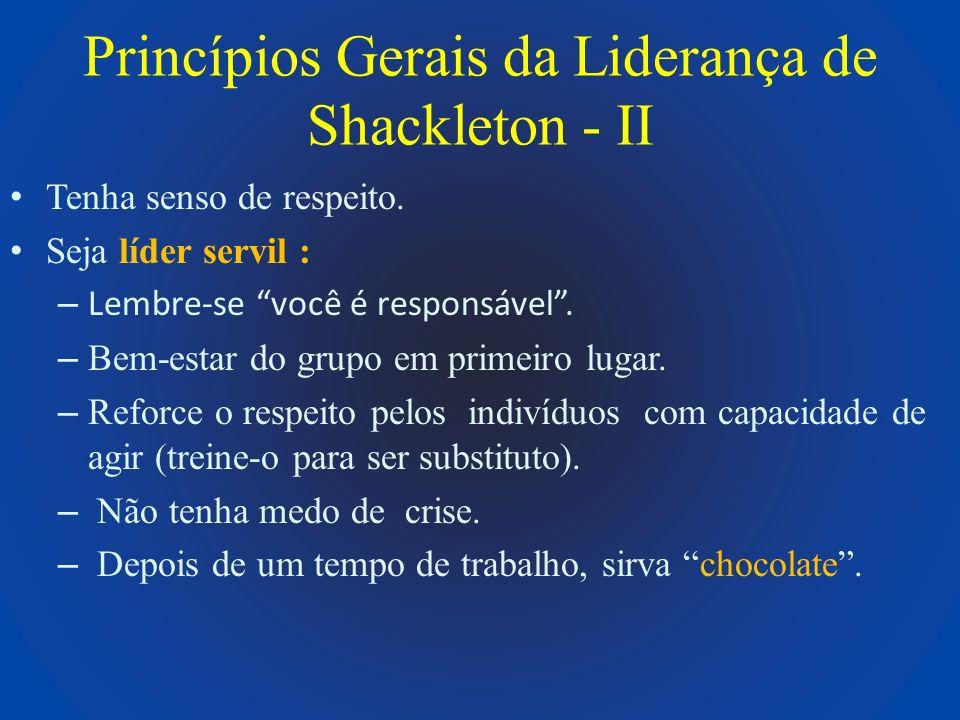 Princípios Gerais da Liderança de Shackleton - II Tenha senso de respeito. Seja líder servil : – Lembre-se você é responsável. – Bem-estar do grupo em