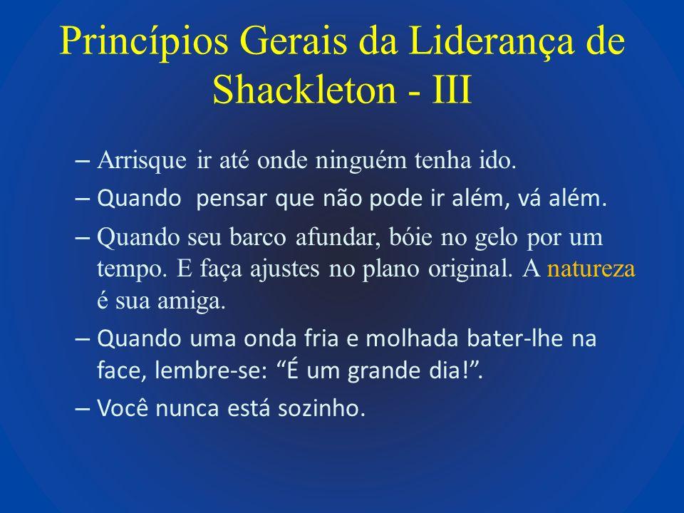 Princípios Gerais da Liderança de Shackleton - III – Arrisque ir até onde ninguém tenha ido. – Quando pensar que não pode ir além, vá além. – Quando s