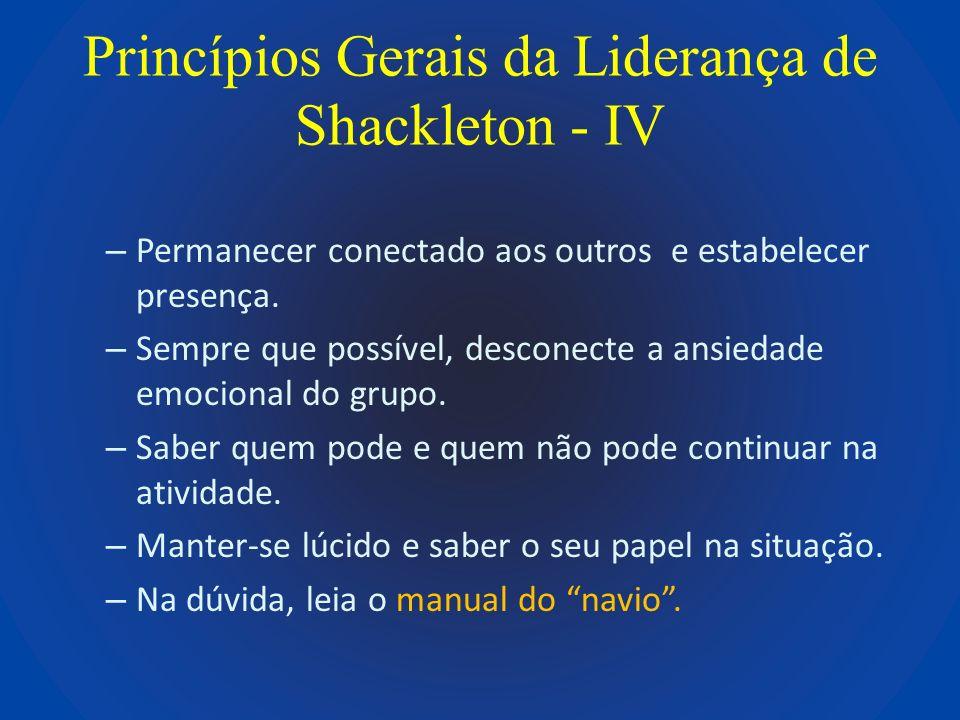 Princípios Gerais da Liderança de Shackleton - IV – Permanecer conectado aos outros e estabelecer presença. – Sempre que possível, desconecte a ansied