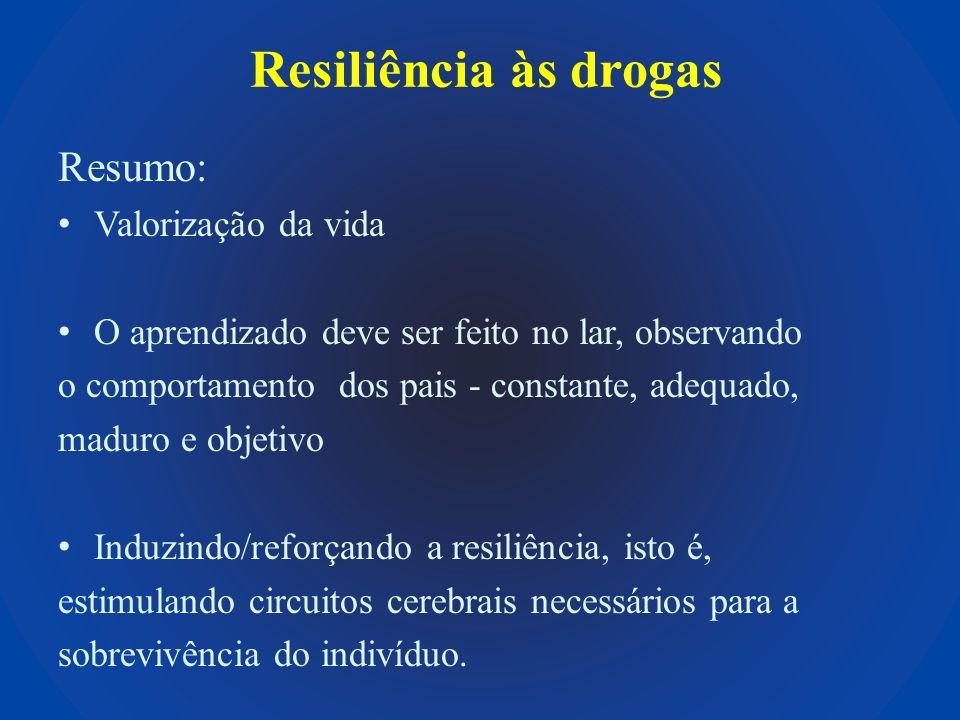 Resiliência às drogas Resumo: Valorização da vida O aprendizado deve ser feito no lar, observando o comportamento dos pais - constante, adequado, madu