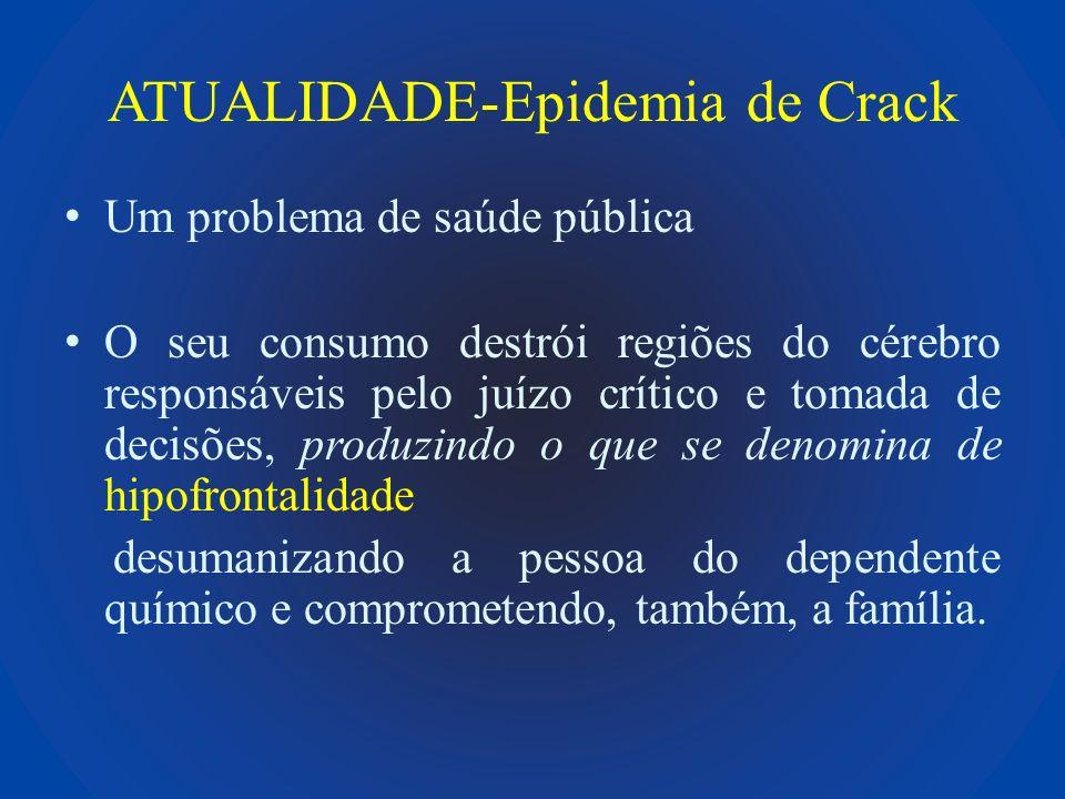 Ação do Crack no Sistema de Recompensa Cerebral Lobo Frontal : tomada de decisões Vias dopaminérgicas Núcleus Acumbens responsável pelo prazer & dependência