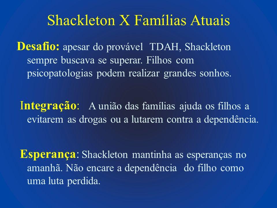 Shackleton X Famílias Atuais Desafio: apesar do provável TDAH, Shackleton sempre buscava se superar. Filhos com psicopatologias podem realizar grandes