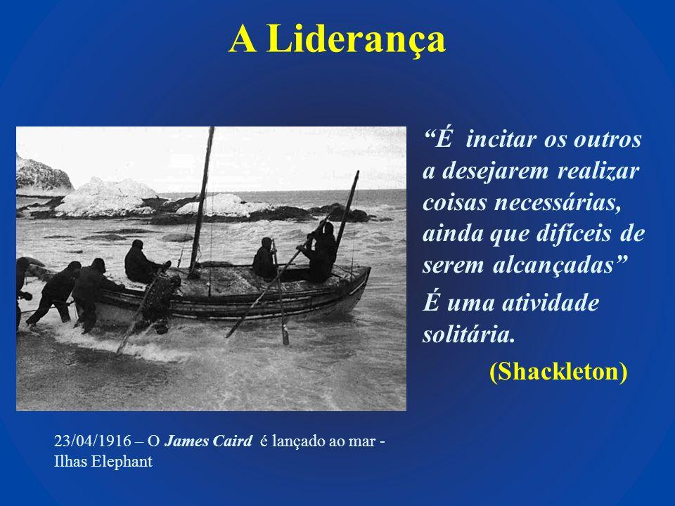 A Liderança É incitar os outros a desejarem realizar coisas necessárias, ainda que difíceis de serem alcançadas É uma atividade solitária. (Shackleton