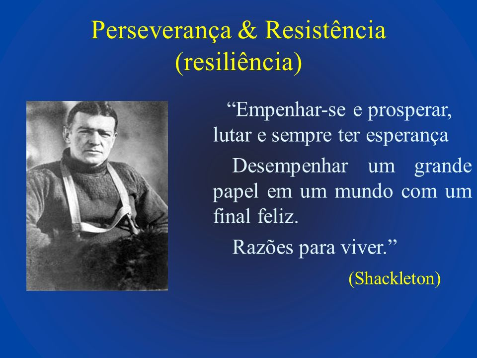 Perseverança & Resistência (resiliência) Empenhar-se e prosperar, lutar e sempre ter esperança Desempenhar um grande papel em um mundo com um final fe