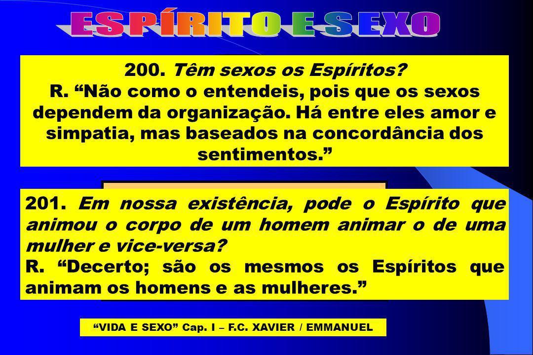 O MESMO ESPÍRITO DE HOMEM; OU DE MULHER. PODE ANIMAR CORPOS: VIDA E SEXO Cap. I – F.C. XAVIER / EMMANUEL 200. Têm sexos os Espíritos? R. Não como o en