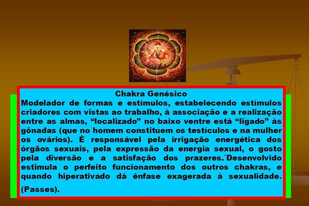 Chacra Genésico (Básico) Localização: Baixo-Ventre Correlação física: Ligado aos Testículos (homem) ou Ovários (mulher) Cor: Laranja, Roxo ou Vermelho