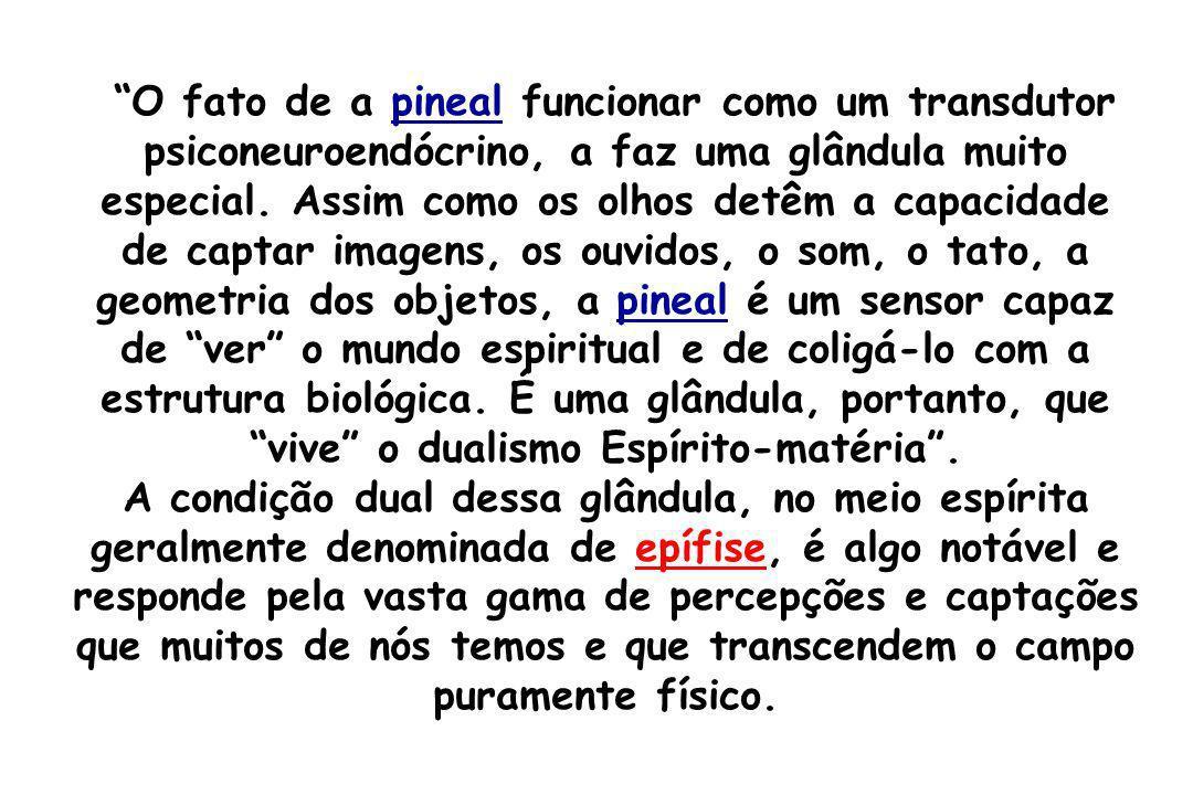 O fato de a pineal funcionar como um transdutor psiconeuroendócrino, a faz uma glândula muito especial. Assim como os olhos detêm a capacidade de capt