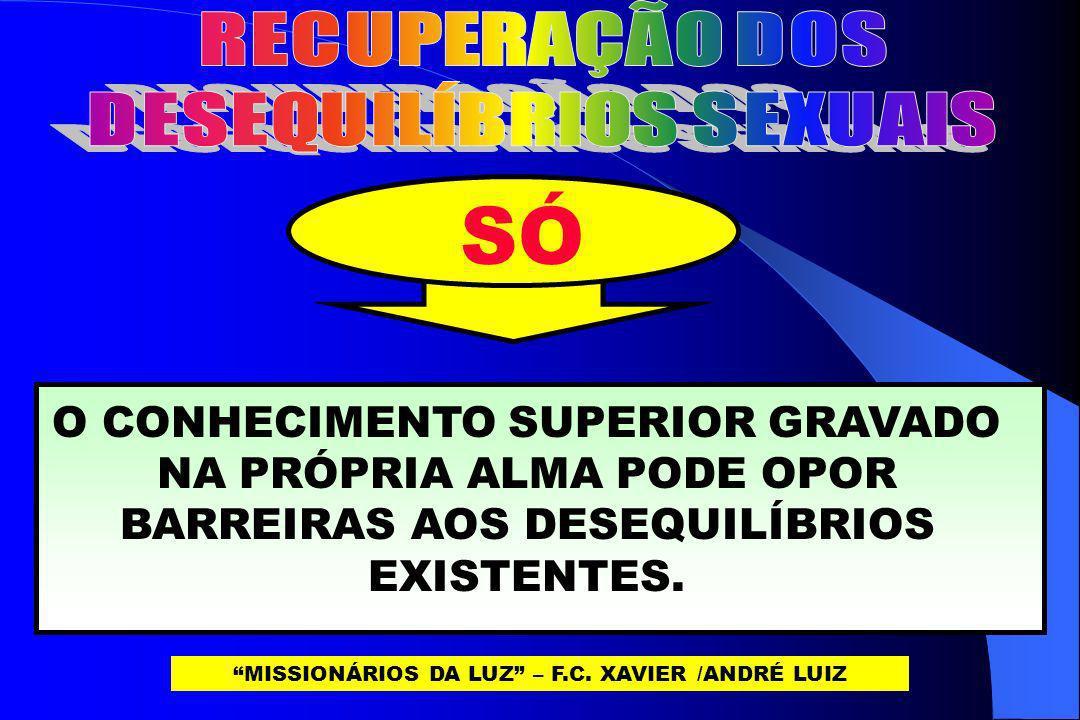 SÓ O CONHECIMENTO SUPERIOR GRAVADO NA PRÓPRIA ALMA PODE OPOR BARREIRAS AOS DESEQUILÍBRIOS EXISTENTES. MISSIONÁRIOS DA LUZ – F.C. XAVIER /ANDRÉ LUIZ