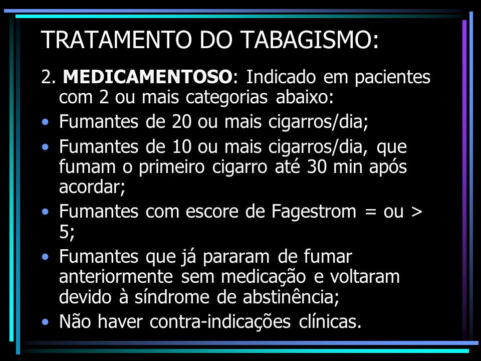 TRATAMENTO DO TABAGISMO: 2. MEDICAMENTOSO: Indicado em pacientes com 2 ou mais categorias abaixo: Fumantes de 20 ou mais cigarros/dia; Fumantes de 10