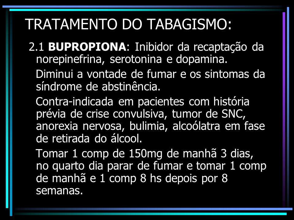 TRATAMENTO DO TABAGISMO: 2.1 BUPROPIONA: Inibidor da recaptação da norepinefrina, serotonina e dopamina. Diminui a vontade de fumar e os sintomas da s