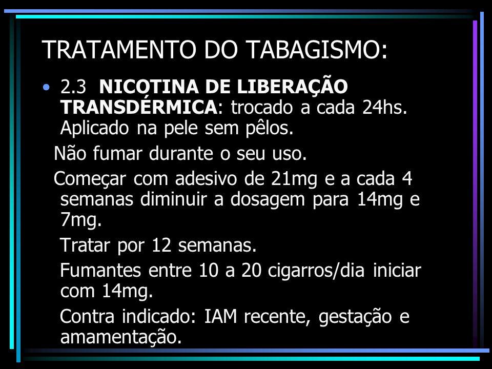 TRATAMENTO DO TABAGISMO: 2.3 NICOTINA DE LIBERAÇÃO TRANSDÉRMICA: trocado a cada 24hs. Aplicado na pele sem pêlos. Não fumar durante o seu uso. Começar