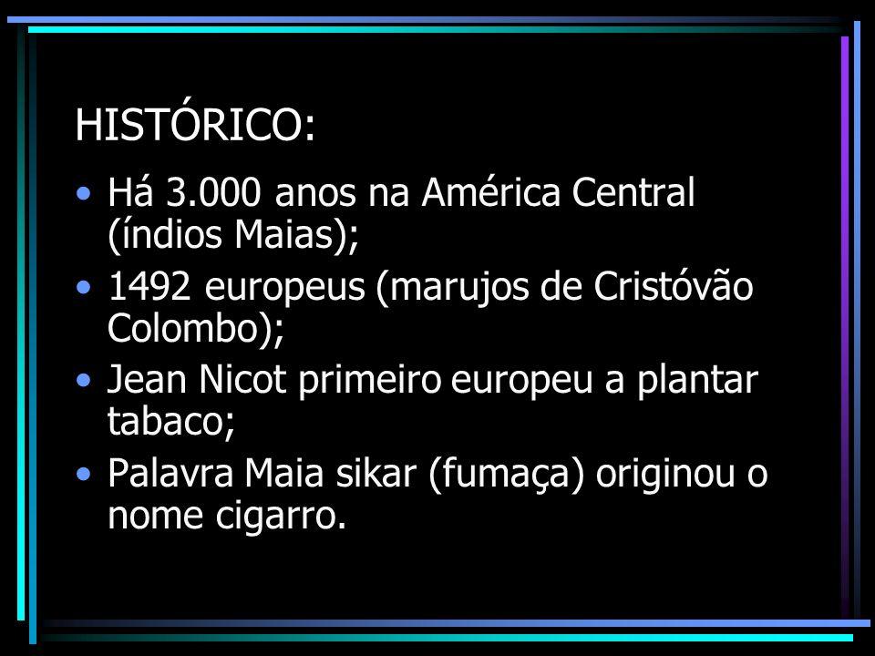HISTÓRICO: Há 3.000 anos na América Central (índios Maias); 1492 europeus (marujos de Cristóvão Colombo); Jean Nicot primeiro europeu a plantar tabaco