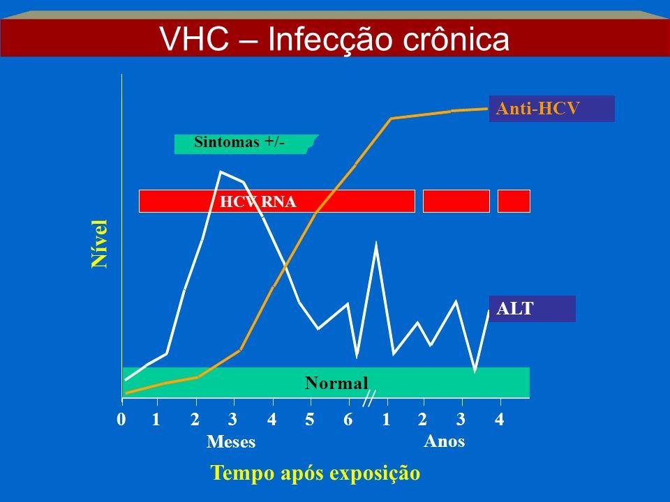 Sintomas +/- Tempo após exposição Nível Anti-HCV ALT Normal 012345 61234 Anos Meses HCV RNA VHC – Infecção crônica