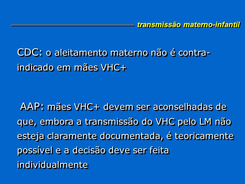 CDC: o aleitamento materno não é contra- indicado em mães VHC+ AAP: mães VHC+ devem ser aconselhadas de que, embora a transmissão do VHC pelo LM não e