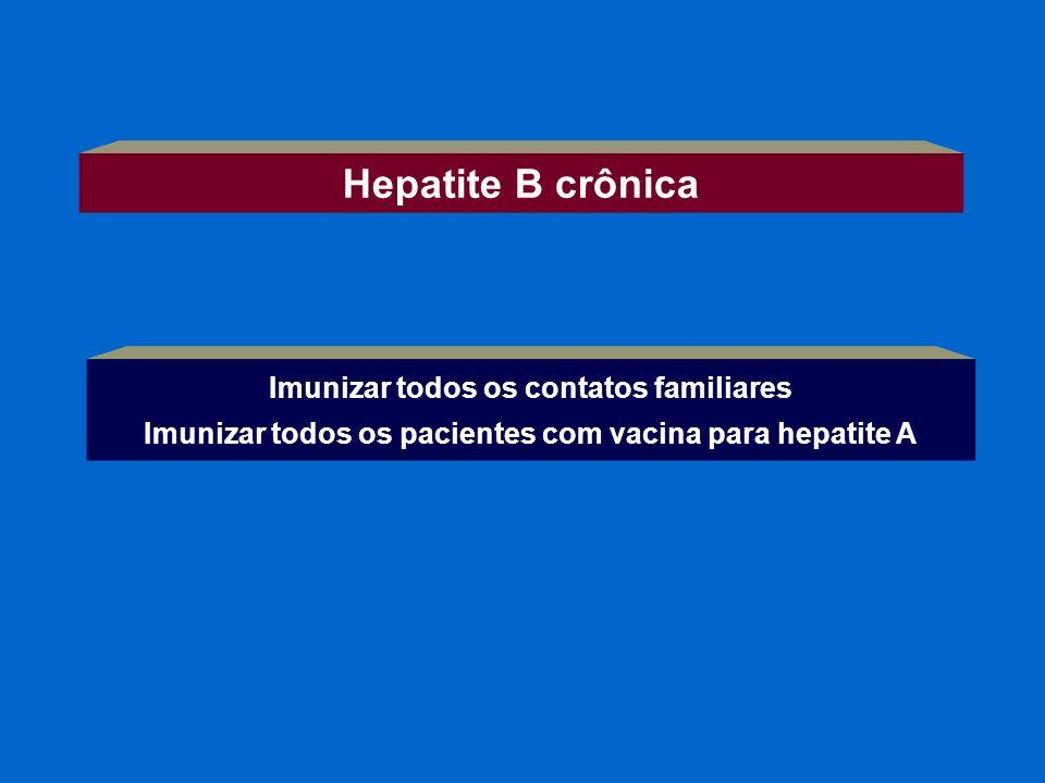 Imunizar todos os contatos familiares Imunizar todos os pacientes com vacina para hepatite A Hepatite B crônica