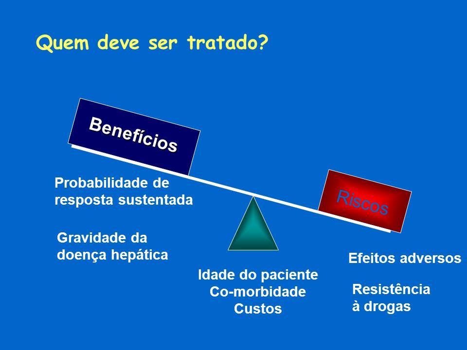 Quem deve ser tratado? Benefícios Riscos Probabilidade de resposta sustentada Gravidade da doença hepática Efeitos adversos Idade do paciente Co-morbi