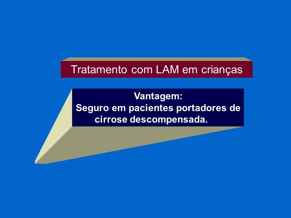 Tratamento com LAM em crianças Vantagem: Seguro em pacientes portadores de cirrose descompensada.