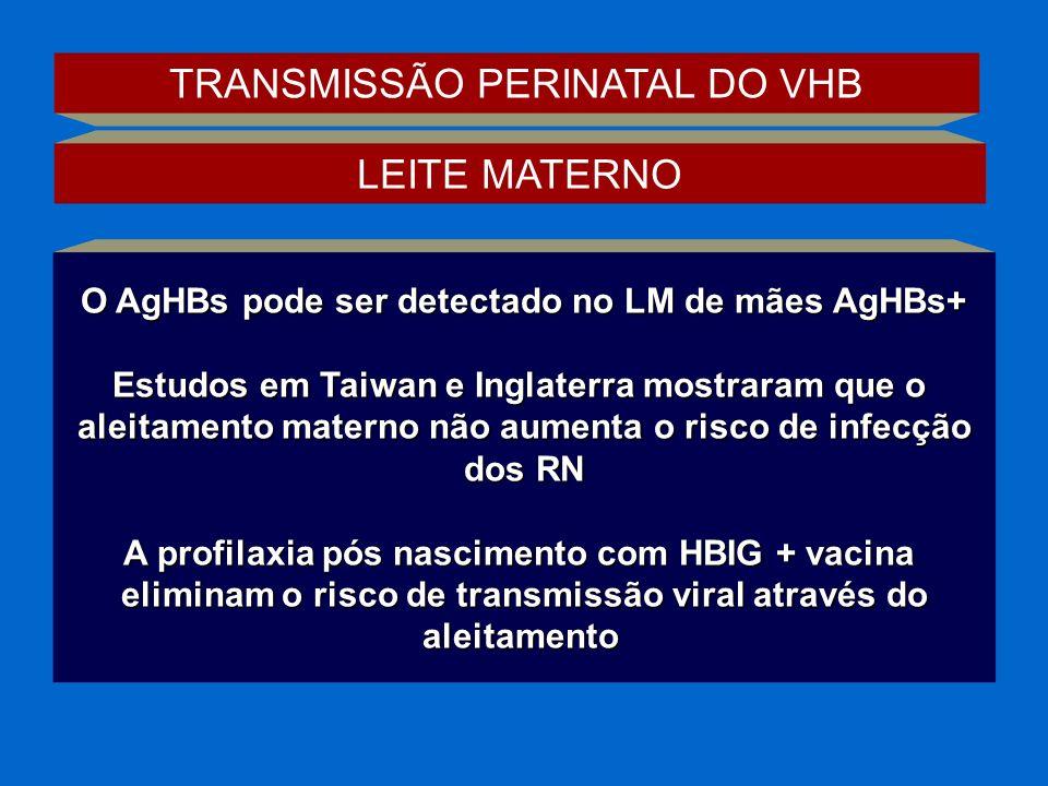 O AgHBs pode ser detectado no LM de mães AgHBs+ Estudos em Taiwan e Inglaterra mostraram que o aleitamento materno não aumenta o risco de infecção dos