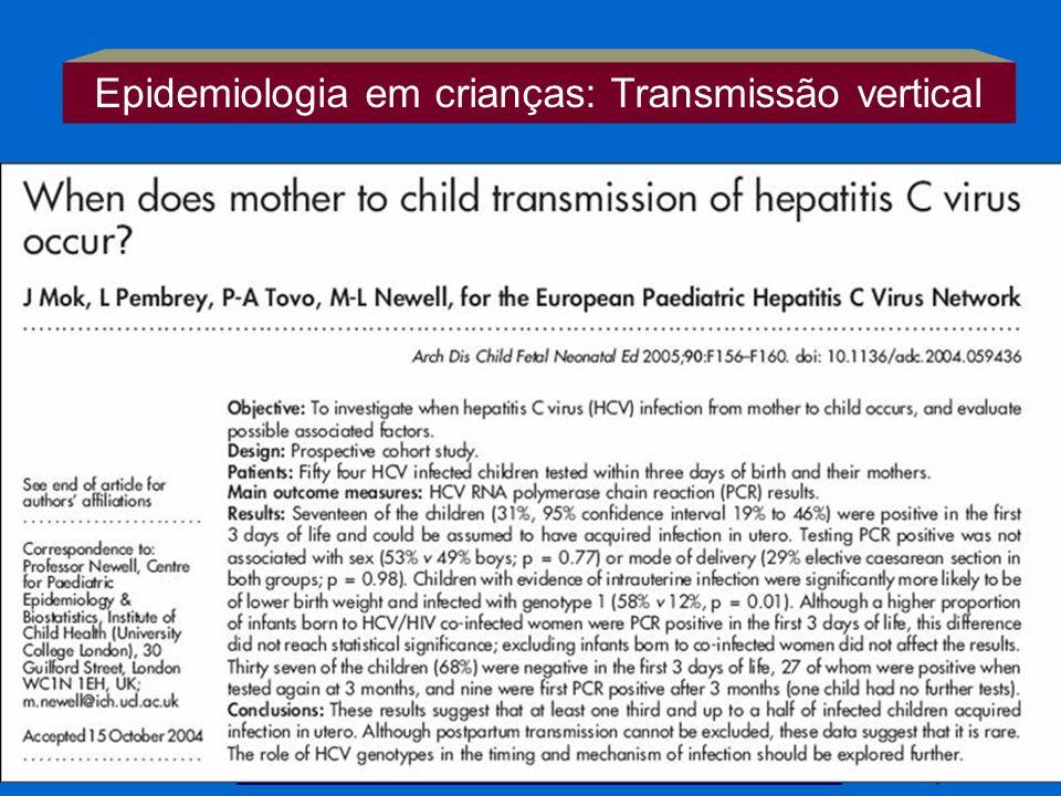 Epidemiologia em crianças: Transmissão vertical mães HCV - RNA : 4,6 – 7,8% (6,2%) (> carga viral > risco) HIV coexistente: 11,8 – 19,8% (15,8%) BJM,