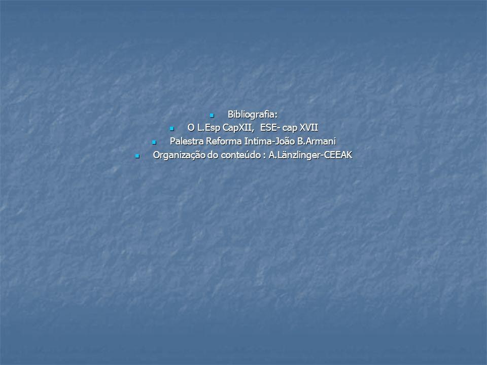 Bibliografia: Bibliografia: O L.Esp CapXII, ESE- cap XVII O L.Esp CapXII, ESE- cap XVII Palestra Reforma Intima-João B.Armani Palestra Reforma Intima-
