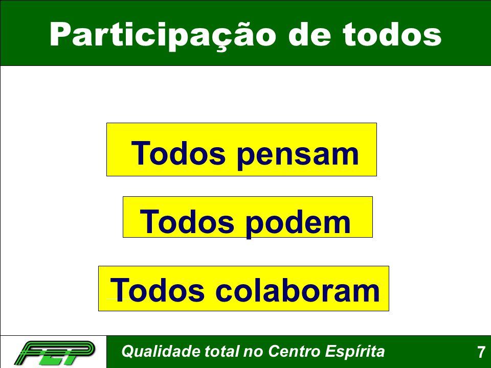 Qualidade total no Centro Espírita7 Participação de todos Todos pensam Todos podem Todos colaboram