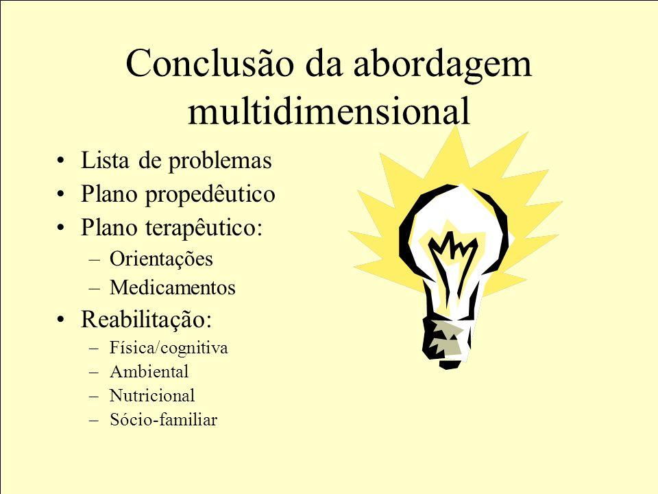 1.Capacidade funcional 2.Capacidade Cognitiva 3.Avaliação do Humor 4.Mobilidade: · Postura · Marcha · Equilíbrio 5.Quedas 6.Continência esfincteriana