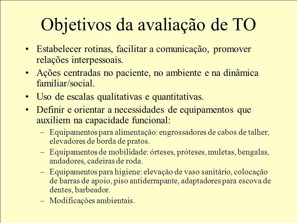 Objetivos da avaliação de TO Utilizar tecnologias orientadas para emancipação e autonomia de pessoas que apresentem temporária ou definitivamente, dif