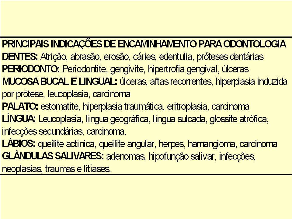 Objetivos da avaliação odontológica Avaliação da saúde oral do idoso. Identificação de processos patológicos em dentes, periodonto, mucosa bucal, pala