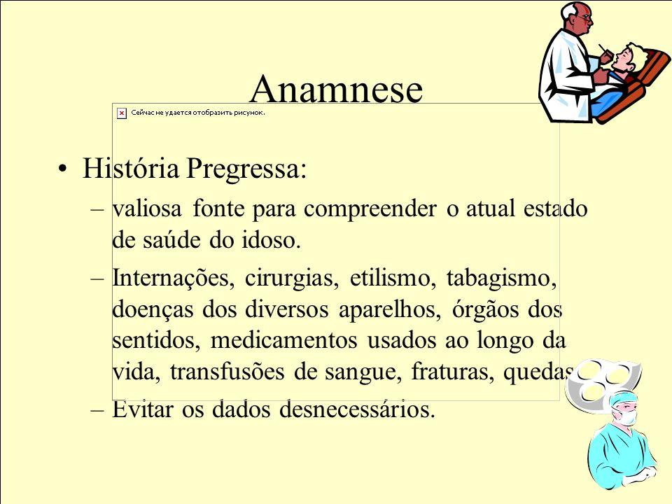 Anamnese História Pregressa: –valiosa fonte para compreender o atual estado de saúde do idoso.