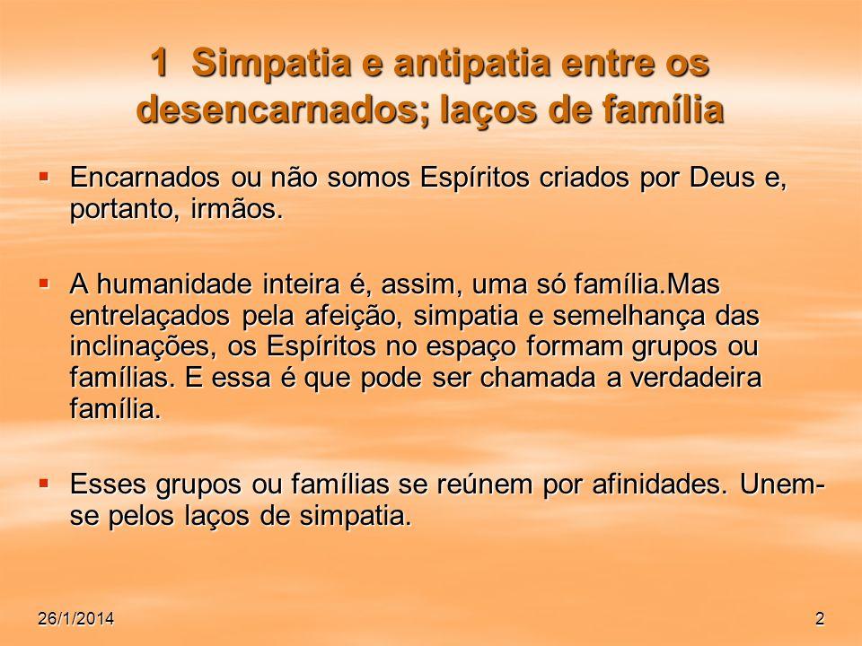 2 1 Simpatia e antipatia entre os desencarnados; laços de família Encarnados ou não somos Espíritos criados por Deus e, portanto, irmãos. Encarnados o