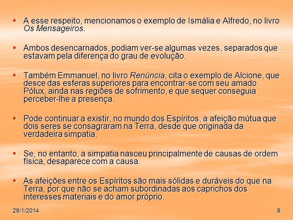 26/1/20149 A esse respeito, mencionamos o exemplo de Ismália e Alfredo, no livro Os Mensageiros. A esse respeito, mencionamos o exemplo de Ismália e A