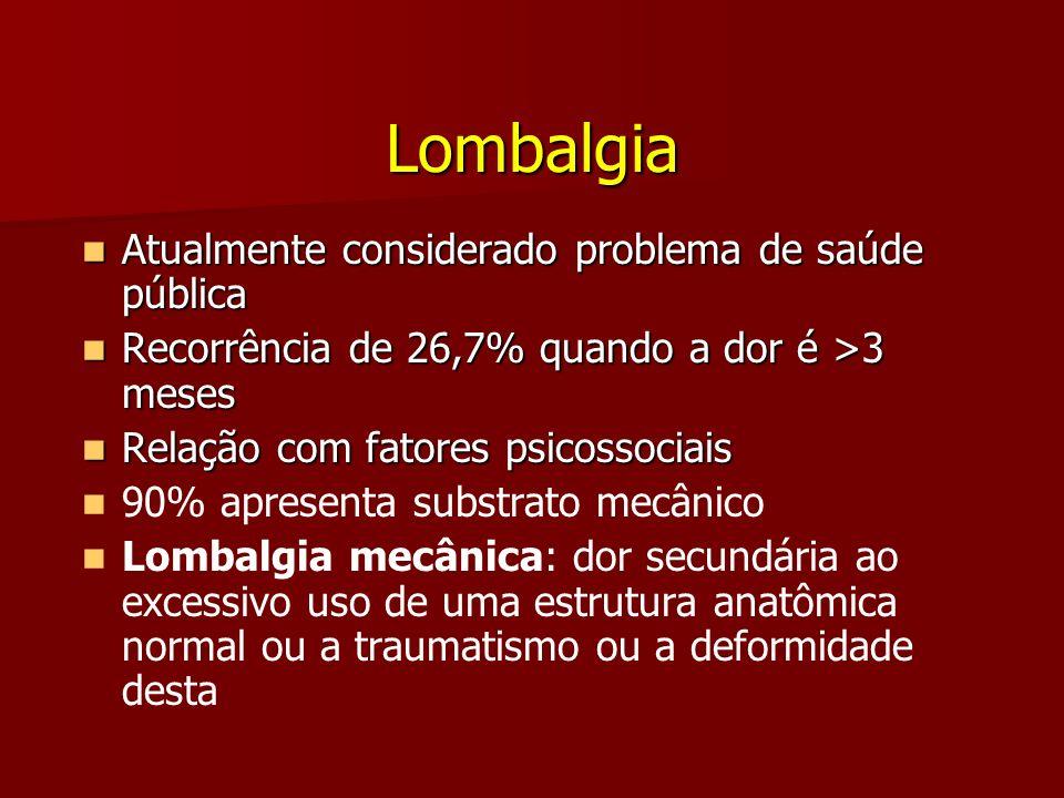 Atualmente considerado problema de saúde pública Atualmente considerado problema de saúde pública Recorrência de 26,7% quando a dor é >3 meses Recorrê