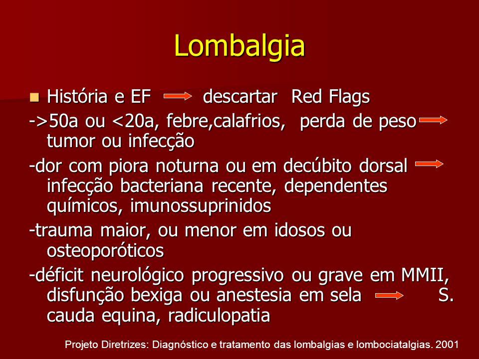 Lombalgia História e EF descartar Red Flags História e EF descartar Red Flags ->50a ou 50a ou <20a, febre,calafrios, perda de peso tumor ou infecção -