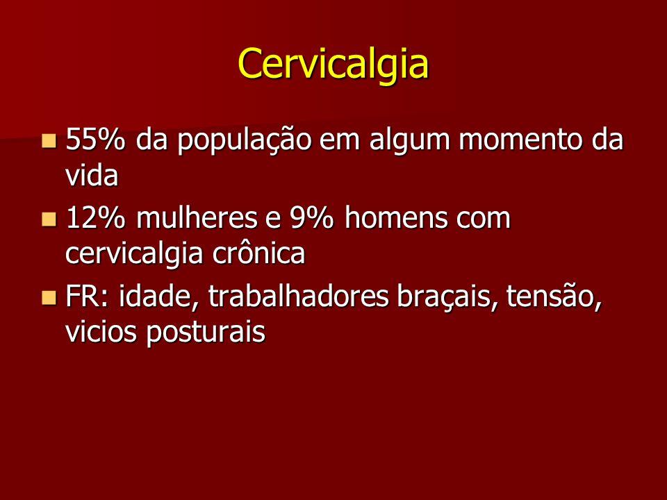 Cervicalgia 55% da população em algum momento da vida 55% da população em algum momento da vida 12% mulheres e 9% homens com cervicalgia crônica 12% m
