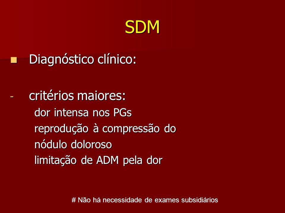 SDM Diagnóstico clínico: Diagnóstico clínico: - critérios maiores: dor intensa nos PGs dor intensa nos PGs reprodução à compressão do reprodução à com