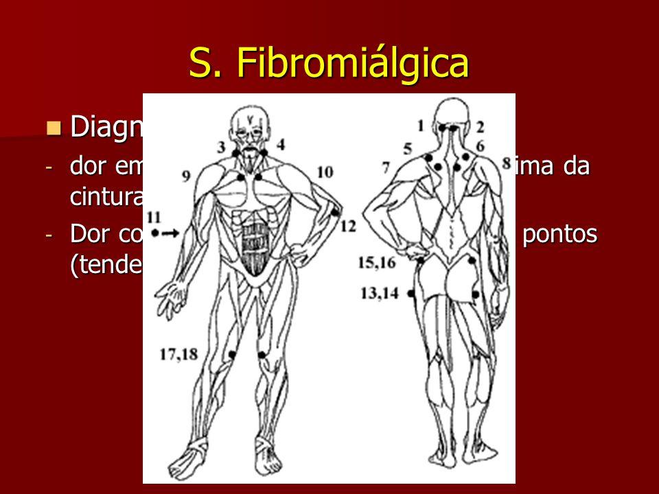 S. Fibromiálgica Diagnóstico: clínico de exclusão Diagnóstico: clínico de exclusão - dor em ambos hemicorpos, abaixo e acima da cintura, além do eixo