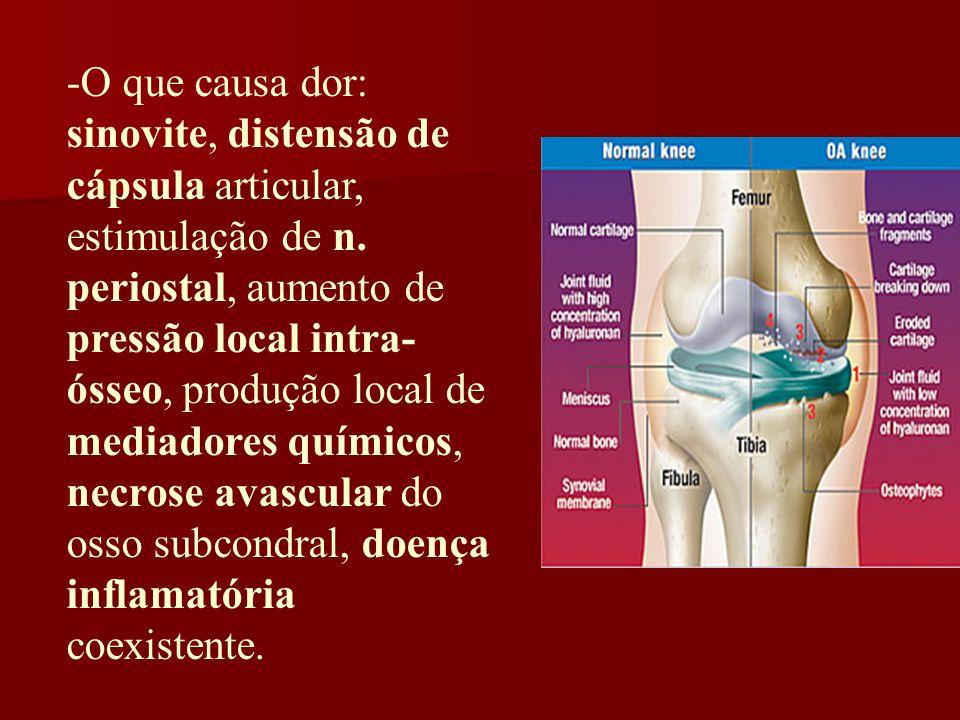-O que causa dor: sinovite, distensão de cápsula articular, estimulação de n. periostal, aumento de pressão local intra- ósseo, produção local de medi