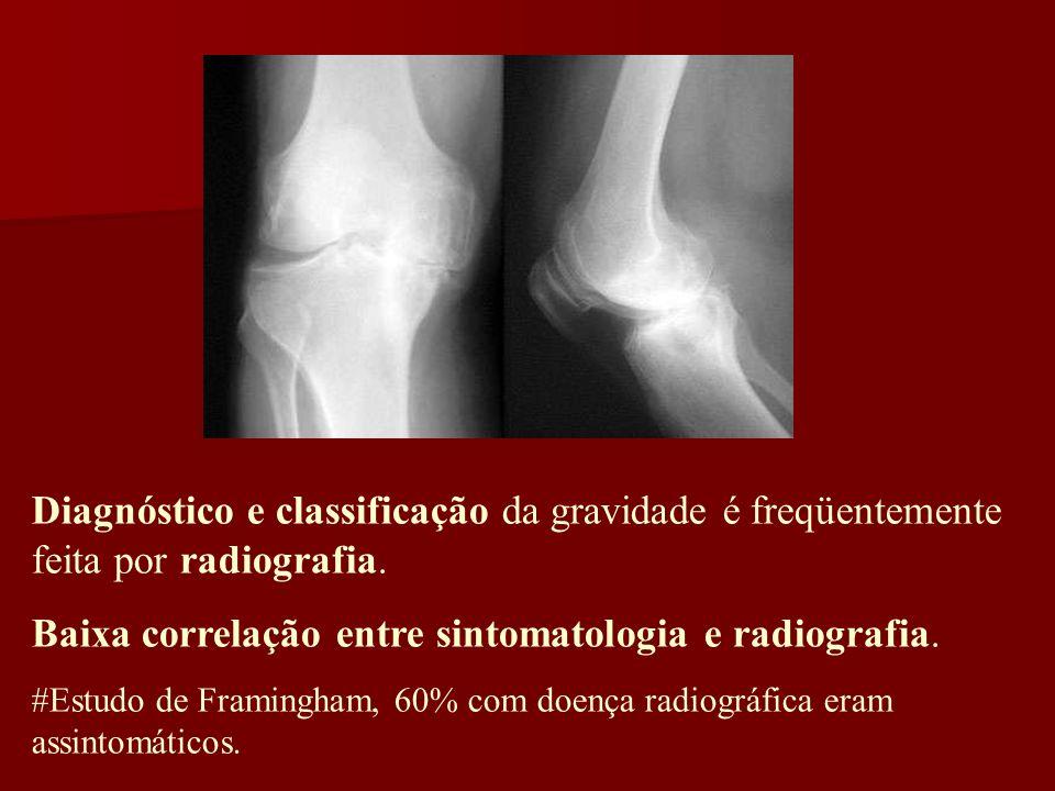 Diagnóstico e classificação da gravidade é freqüentemente feita por radiografia. Baixa correlação entre sintomatologia e radiografia. #Estudo de Frami