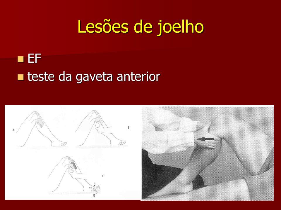 Lesões de joelho EF EF teste da gaveta anterior teste da gaveta anterior