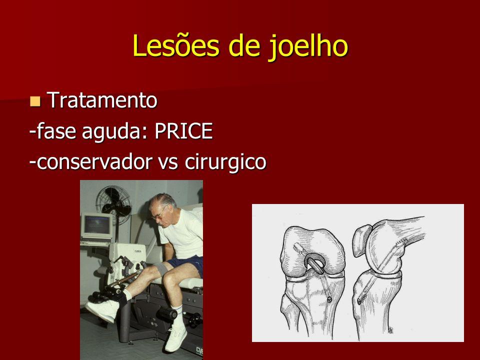 Lesões de joelho Tratamento Tratamento -fase aguda: PRICE -conservador vs cirurgico