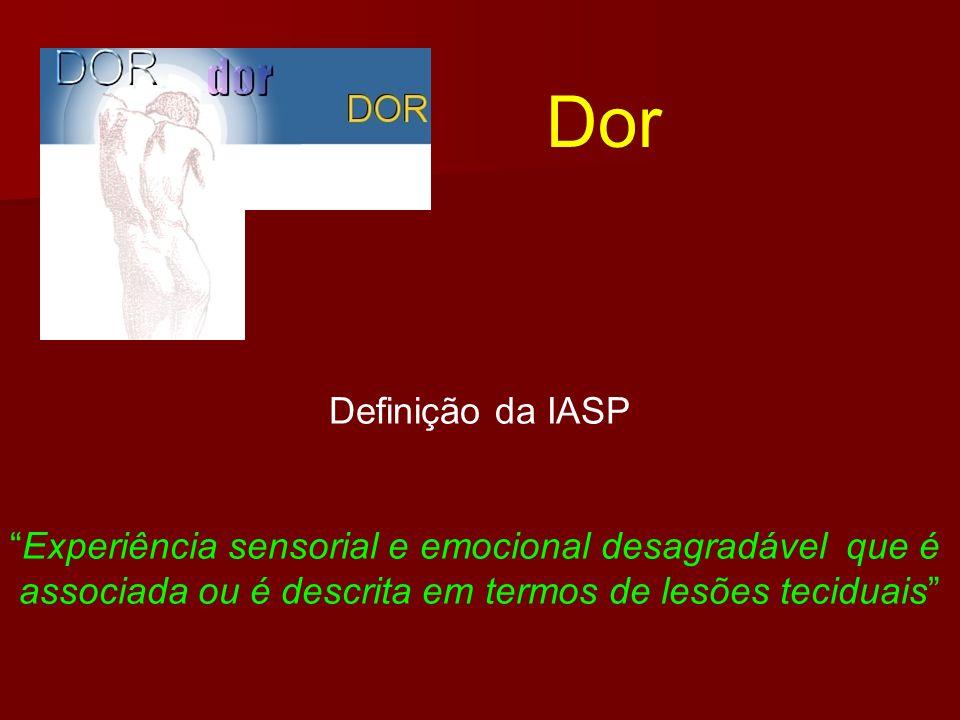 Definição da IASP Experiência sensorial e emocional desagradável que é associada ou é descrita em termos de lesões teciduais Dor