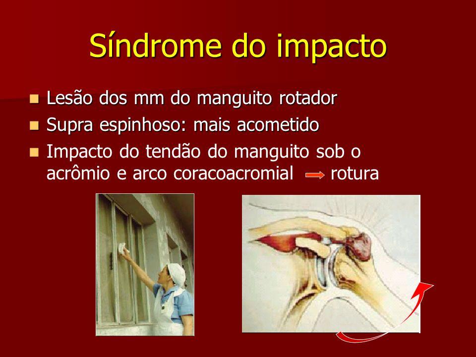 Síndrome do impacto Lesão dos mm do manguito rotador Lesão dos mm do manguito rotador Supra espinhoso: mais acometido Supra espinhoso: mais acometido
