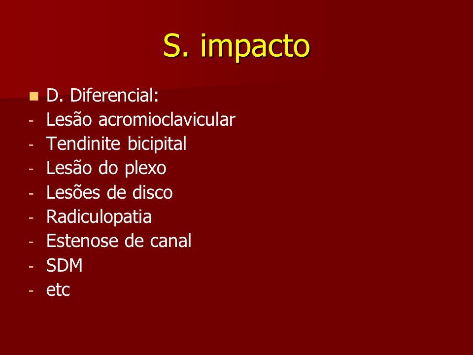 S. impacto D. Diferencial: - - Lesão acromioclavicular - - Tendinite bicipital - - Lesão do plexo - - Lesões de disco - - Radiculopatia - - Estenose d