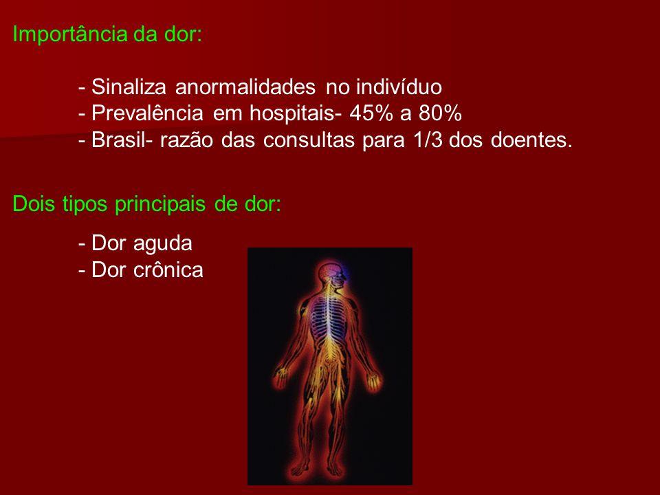 Importância da dor: - Sinaliza anormalidades no indivíduo - Prevalência em hospitais- 45% a 80% - Brasil- razão das consultas para 1/3 dos doentes. Do