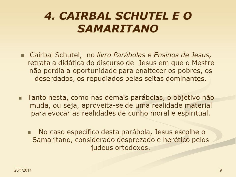 26/1/2014 9 4. CAIRBAL SCHUTEL E O SAMARITANO Cairbal Schutel, no livro Parábolas e Ensinos de Jesus, retrata a didática do discurso de Jesus em que o