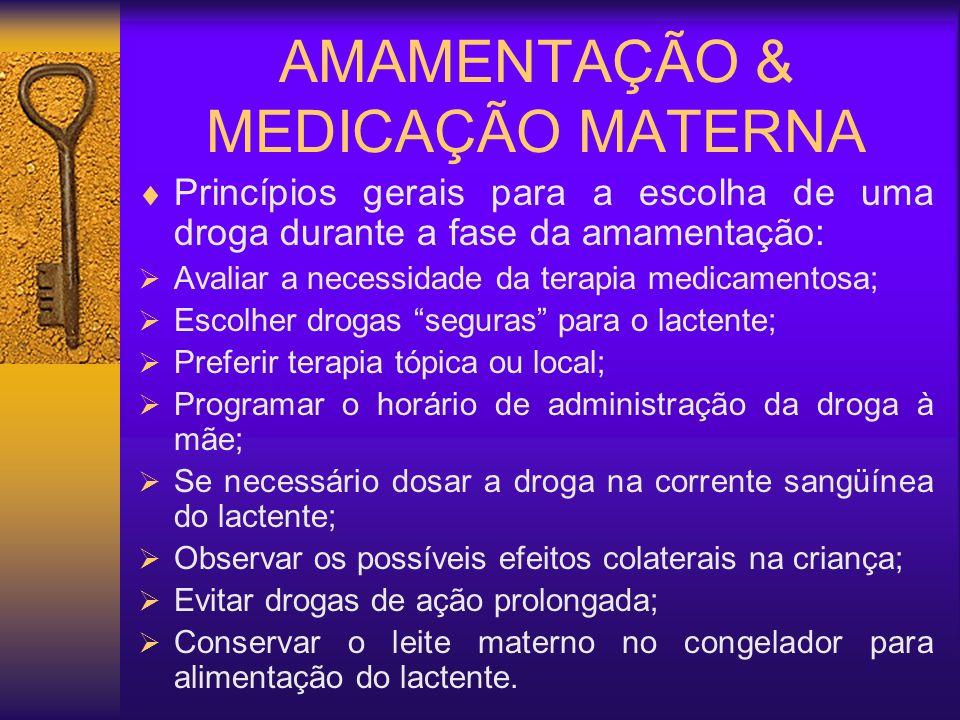 AMAMENTAÇÃO & MEDICAÇÃO MATERNA Princípios gerais para a escolha de uma droga durante a fase da amamentação: Avaliar a necessidade da terapia medicame