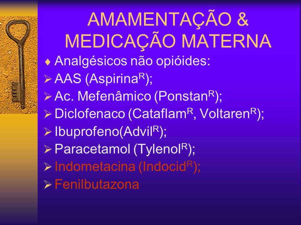 AMAMENTAÇÃO & MEDICAÇÃO MATERNA Analgésicos não opióides: AAS (Aspirina R ); Ac. Mefenâmico (Ponstan R ); Diclofenaco (Cataflam R, Voltaren R ); Ibupr