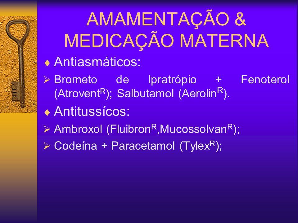 AMAMENTAÇÃO & MEDICAÇÃO MATERNA Antiasmáticos: Brometo de Ipratrópio + Fenoterol (Atrovent R ); Salbutamol (Aerolin R ). Antitussícos: Ambroxol (Fluib
